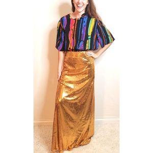 *New Sparkling Gold Sequin Maxi Skirt*